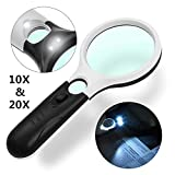 LED Magnifying Glass,Gemwon 20X + 10X Illuminated 2 Lens Set Mini Handheld Pocket Best Magnifier With Lights for Seniors Reading, Hobby, Crafts, Office, Maps, Jewelry, Mechanical, Watch & Computer Rep (20X+10X) (White and Black)