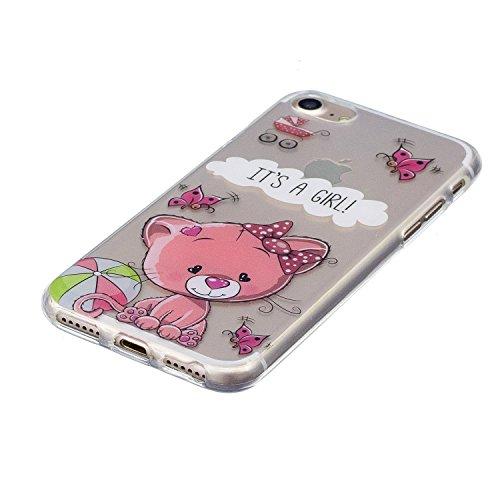 "iPhone 7 4,7"" Silikon Handyhülle, Silikon Hülle für iPhone 7 (4,7 zoll) ,Edaroo Cute Fun LustigKaktusMotiv Bunte Malerei Ultra Slim Dünn Klar durchsichtig Transparent Weich Silikon Gummi TPU Gel Schut Pink Cat"