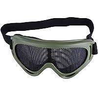 Gafas de Malla Airsoft Táctico Lentes de Acero Gafas de Sol Media Cara a Prueba de Viento Gafas de Paintball Gafas de Seguridad de Tiro para al Aire Libre Ciclismo Correr Acampar(Color de ejército)