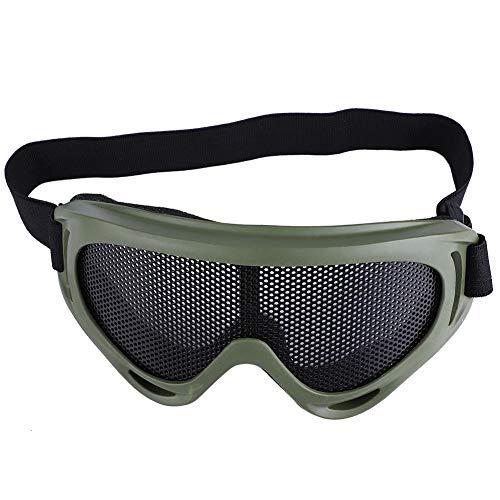 Taktische Airsoft Schutzbrille Metall Mesh Schutzbrillen Radfahren Brille Stoßfestigkeit Stahl Linsen Sonnenbrille Paintball Brillen Augenschutz für Männer Frauen Radfahren Wandern(Armeefarbe)
