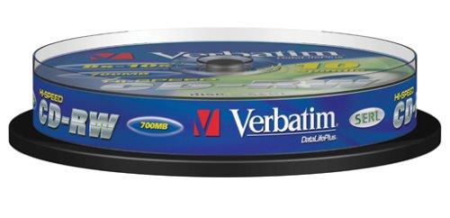 Verbatim CD-RW, 700 MB/ 80 Minuten, 12-fache Brenngeschwindigkeit, hochwertiger CD-Rohling, zum Daten sichern und brennen, 10 Stück (Spindel), 43480