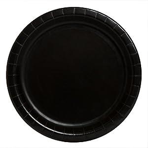 Unique Party -  Platos de Papel - 23 cm - Negro - Paquete de 8 (3205)