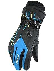 YF-36Mujer Thinsulate guantes de esquí impermeable voluminosos exterior Ciclismo manoplas con bordes, mujer hombre Infantil, azul
