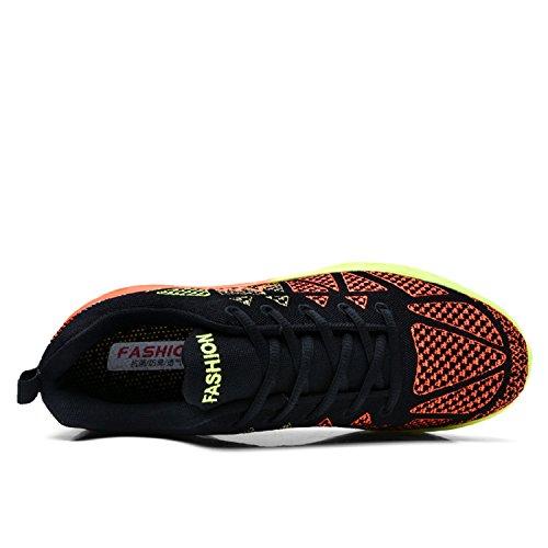 Uomo Donna Scarpe Running Outdoor Sneakers Palestra Tennis Scarpe da Corsa Nero Arancione