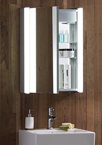 led illuminated bathroom mirror cabinet c11 with demister shaver