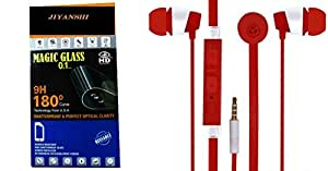 Jiyanshi Combo of Screen Guard / Screen Protector & Earphone With Deep Bass Red Compatible For Sony Xperia Z3 Compact