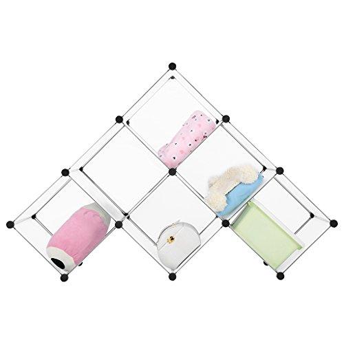 LANGRIA Wohnzimmerschränke Stufenregal 6 Schrank Offen Regalsystem Schuhschrank Kleiderschrank Garderobe mit Transluzenten Platten für Kleidung, Schuhe, Spielzeug und so weiter