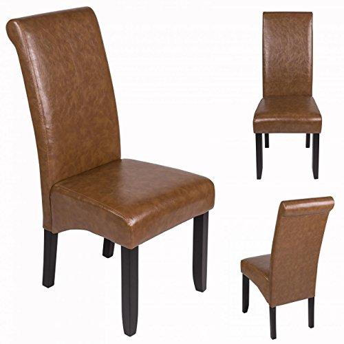 Sanzaro Esszimmerstuhl Stuhl Küchenstuhl Polsterstuhl Stuhlgruppe Stuhl Braun-Antik