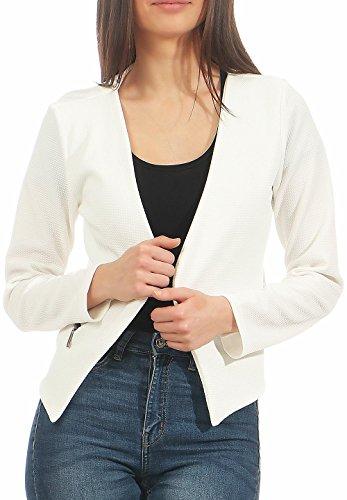 malito Damen Blazer ohne Kragen | Sakko im Basic Look | Kurzjacke mit Zipper | Jacke – Jackett – Blouson 6040 (XXL, weiß)