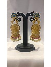 Ratnatraya Traditional Green Red Artificial Gemstones Earrings | Fancy Designer Gold Polished Ear Tops For Girls...
