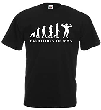 Evolution Of Man. Bodybuilding - Mens funny gym t-shirts, gift ideas for men / mens funny gifts (Small, Black)