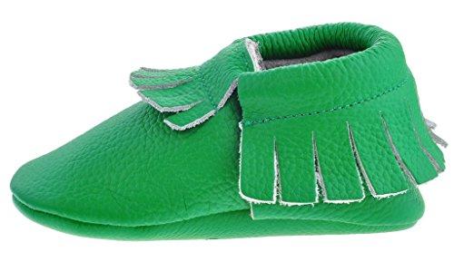 Sayoyo tassel chaussures de bébé en cuir souple chaussures semelle douce Vert