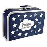 Baby Erinnerungsbox Koffer personalisiert mit Namen und Geburtsdatum Modell Sternenhimmel dunkelblau