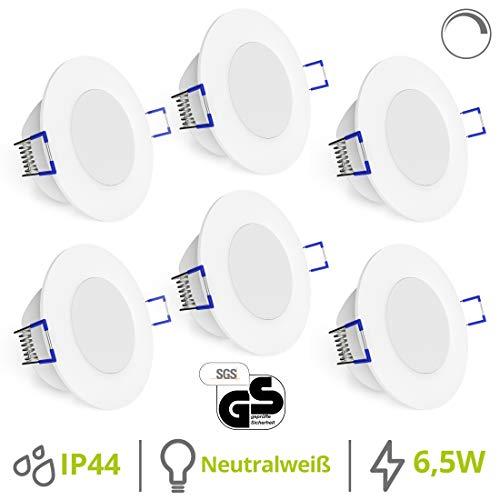 linovum® WEEVO 6er Set LED Bad Einbaulampen dimmbar - 6,5W neutralweiß IP44 - runde Deckenlichter 230V mit flachem Einbau 29mm