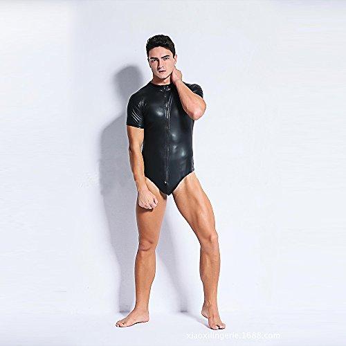 Eastlion Men s Tight Faux Leather Bodysuit Clubwear Fancy Dress Cosplay Costume  L