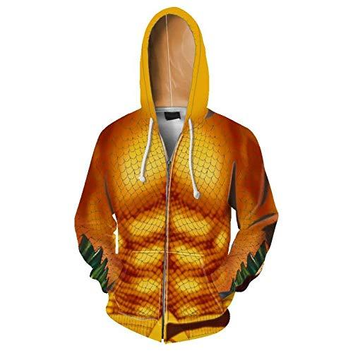 MSLFZ Kapuzenpullover Herren,Muster Drachenschuppen Serie Drucken Reißverschluss Weich Und Komfortabel Orange Gelb XL