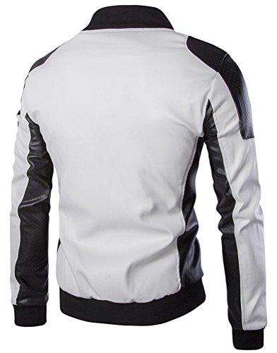 SMITHROAD Herren Lederjacke Übergangsjacke Bikerjacke Motorrad Jacket  Kunstlederjacke Colorblock Patchwork Style XS-3XL Weiß ...
