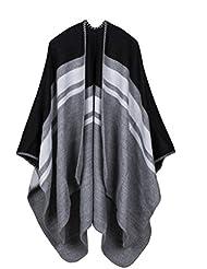 Estilo de moda Nepal las mujeres espesado manta bufanda abrigo Poncho chal cabo acogedor imitación Cashmere regalos ideales para mujer de gran tamaño 150 * 130cm , Black