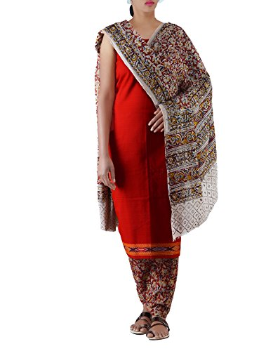 Unnati Silks Women's Cotton Dress Material (PR5360_Free Size_Red)