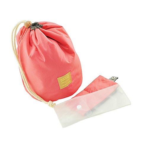 Beute Tasche (Kosmetiktasche mit verschiedenen Taschen für Make-up mit durchsichtigem PVC-Beuteö zum Reisen, Blau/Rot rose)