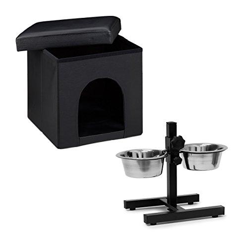 Relaxdays 2 teiliges Set Home Sweet Hund Deluxe M, Hundebox als Sitzhocker mit Tierhöhle, Hundebett schwarz, Doppelnapf höhenverstellbar, Futterstation
