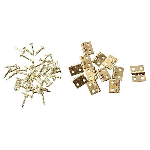SODIAL(R) 12 Stueck Mini Schrank Wandschrank Scharnier fuer 1/12 Puppenhaus Miniatur Moebel Golden - 4