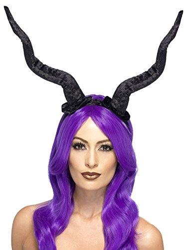 Faun-Hörner Halloween Haarreif Dämon schwarz (Kostüm Faun Hörner)