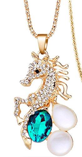 rn Horse Blue Crystal Opals Golden Long Chain (Golden Ring Walmart)
