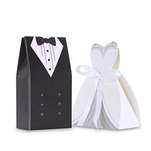 comprare on line Wolfteeth 200 pz scatolina scatola regalo portaconfetti Confetti bomboniera segnaposto matrimonio Decorazioni anniversario -100 pezzi Sposa(con nastrino) & 100 pezzi Sposo prezzo