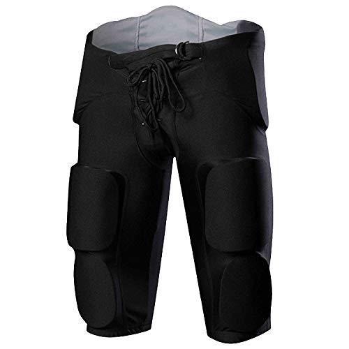 COOLOMG Herren Fußballhose Shorts Funktionshose mit Polster Oberschenkel Hüfte Steißbein Schutz Protektorenhose Schwarz