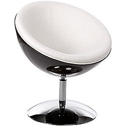Diseño sillón esfera en simil cuero (blanco y negro)