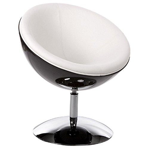 MK Fauteuil Design GAROE en Simili Cuir (Noir et Blanc)