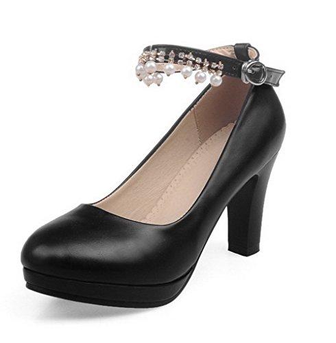 VogueZone009 Femme Rond Boucle Pu Cuir Couleur Unie à Talon Haut Chaussures Légeres Noir