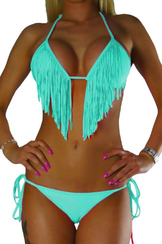 ALZORA Bikini Damen Tassel Fransen Fringe Push Up Set Top und Hose , 10200 (M, Z6-Türkis Tassel Bänder) (Set Band Top)