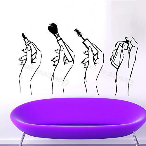 zqyjhkou Frauen Hände Bilden Vinyl Wandaufkleber Lippenstift Make-Up Pinsel Mascara Parfüm Schönheitssalon Shop Kunst Aufkleber Mädchen Raumdekor Ea118 92x56 cm