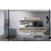centro hogar sánchez Composición Modular para salón de 310 cm con Leds Acabado en Color Roble