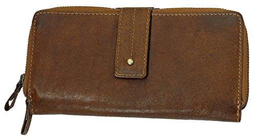 Branco XXL Damen Vintage Leder Geldbörse Clutch Geldbeutel Portemonnaie Riegelbörse Kombibörse (Tan)