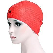 Ballena silicona gorro de natación elasticidad burbuja gorro de natación para niños, adultos, rojo