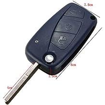 Llave con carcasa para Fiat Panda, Grande Punto, Ducato y Doblò, con mando a distancia con 3 botones azules (compartimento para pila en la parte trasera bajo el logo)