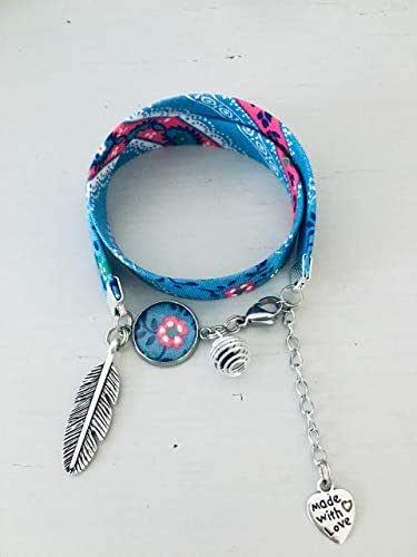 Bracciale in tessuto blu bohemien Liberty, bracciale portafortuna, gioiello, bracciale fiore, gioielli da donna, bracciale di piume