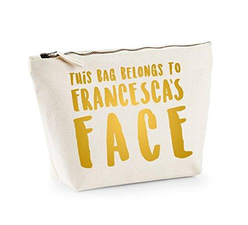 This Bag Belongs to... - Personalised Name - Fun Slogan, Make Up and Cosmetics Bag, Accessory Organiser Natural/Gold