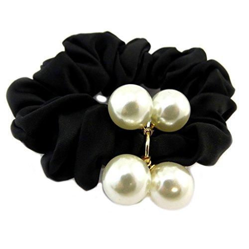 Les Trésors De Lily [P6100] - Designer liebling 'Sissi' schwarzes elfenbein (satin)- breite 2,5 cm.