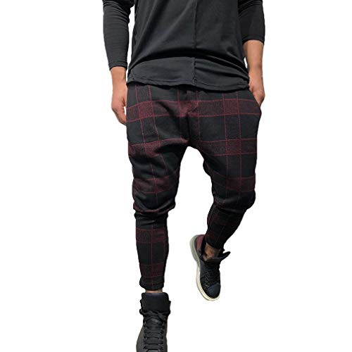 Mxssi Pantalones Largos para Hombre Slim Fit A Cuadros Pantalones Deportivos Pantalón Jogger Cargo Casual Pantalones 4 Colores