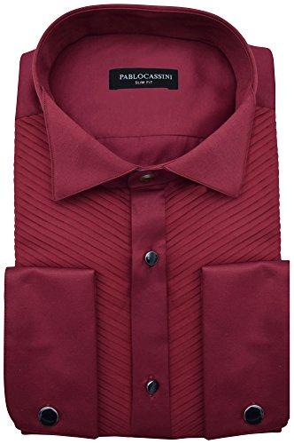 PABLO CASSINI Smokinghemd Slim Fit Plissee Biesenfalten mit Manschettenknöpfe (XXL - Kragenweite: 45/46, Bordeaux Rot)
