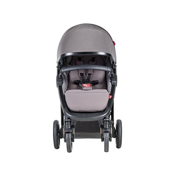 Phil&teds Smart Buggy Pushchair, Graphite phil&teds Foot fold - intuitive, compact, one-piece standing foot fold - a world's first of its kind - is only 23 Inch wide, making it perfect for tight city spaces ; A unique aerocore seat design that's soft and spongy for maximum comfort and is hypo-allergenic, ventilating, insulating, UV resistant, waterproof, non-toxic and simply wipes clean Smooth ride tires - super-smooth, hassle-free riding with 10 Inch rear puncture-proof, aerotech wheels and suspension on all four wheels; convenient hand-operated parking brake offers easy braking control at your fingertips Lightweight - stroller weighs 23.5 lbs. and includes a main, full-size seat that holds up to 44 lbs., an extendable leg and a sun hood with zip-out extension and silent peek-a-boo flap 14