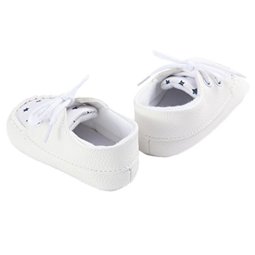 WAYLONGPLUS Baby-Kind-Jungen Stern PU Prewalker Anti-Rutsch Babyschuhe Weiß
