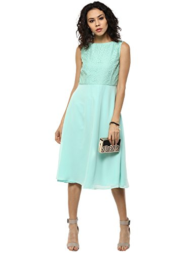 Femella Women's Green Lace bodice Midi Dress (DS-799759-1131-GRN-S )