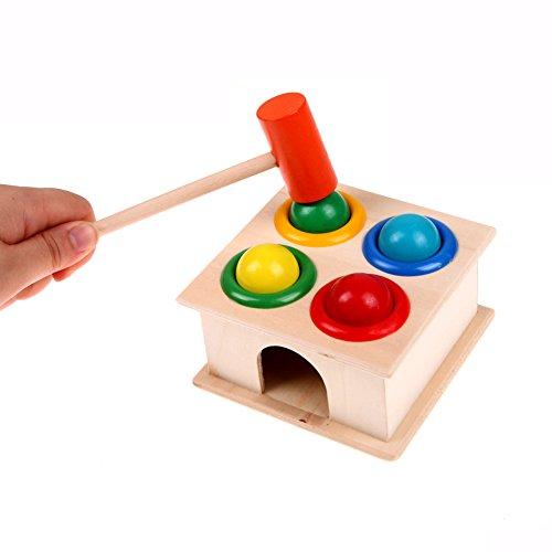 Toyshine Wooden Hammer Case Toy for Kids, Pounding Bench, 4 Balls, 1 Hammer