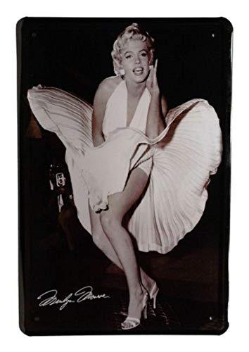 Blechschild Film Star Marilyn Monroe weißes Kleid Metallschild Wanddeko tin Sign