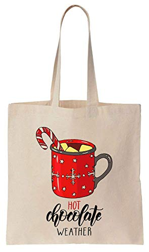 Hot Chocolate Weather Huge Cup Of Cocoa Cold Winter Christmas Christmas Design Cotton Canvas Tote Bag -